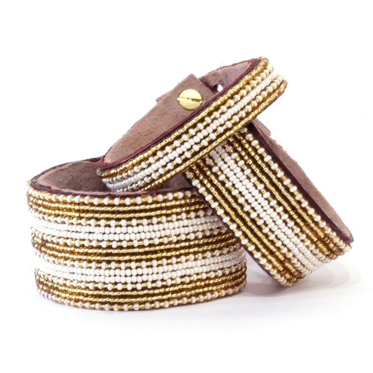Stripes Gold/Pearl Beaded Leather Cuff