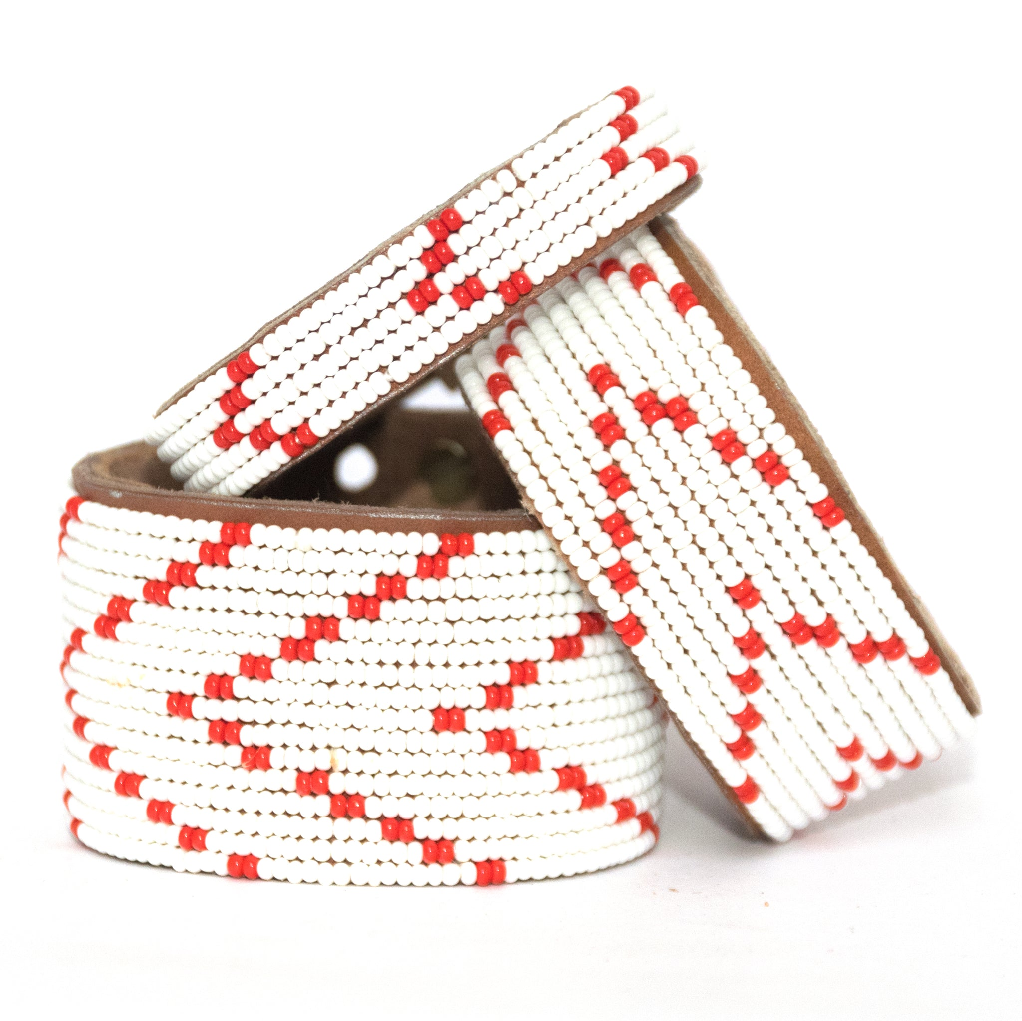 Chevron Red Beaded Leather Cuff
