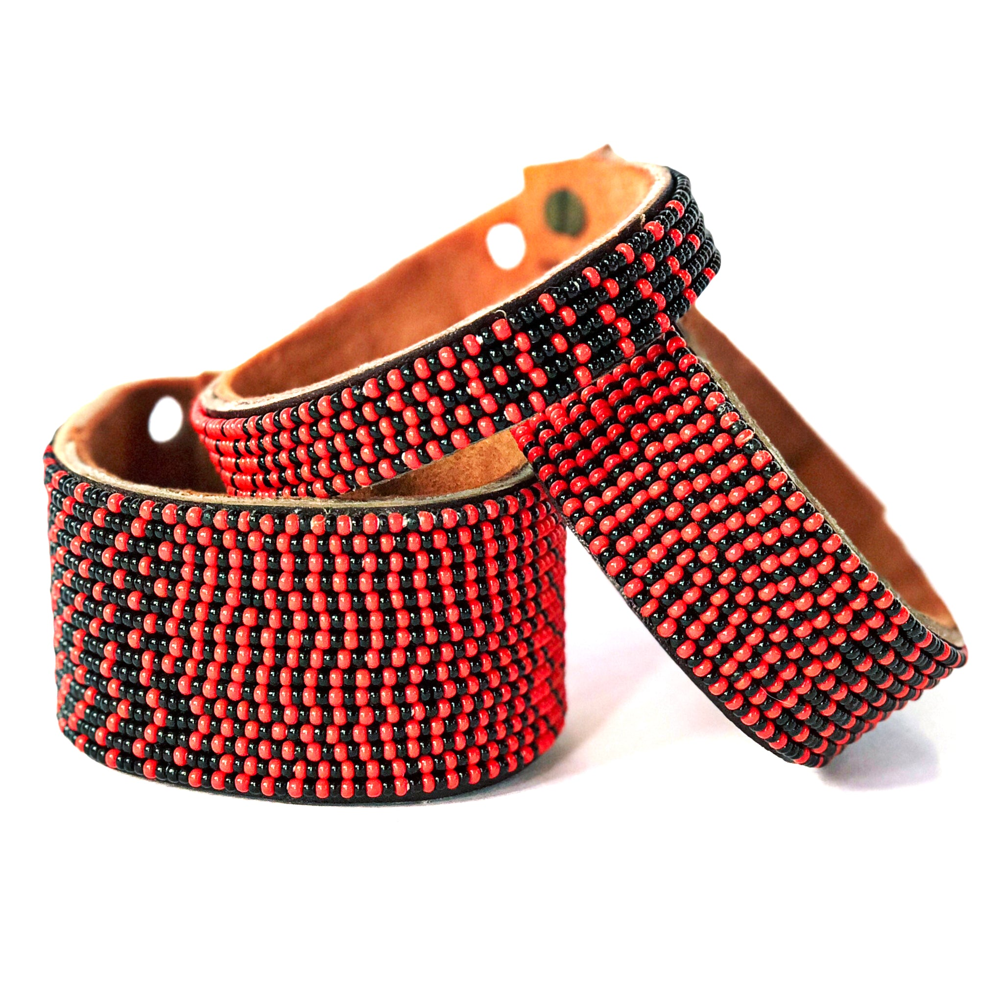 Ombre Red/Black Beaded Leather Cuff