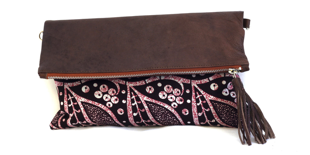 Dark Leaves Fold-over Clutch