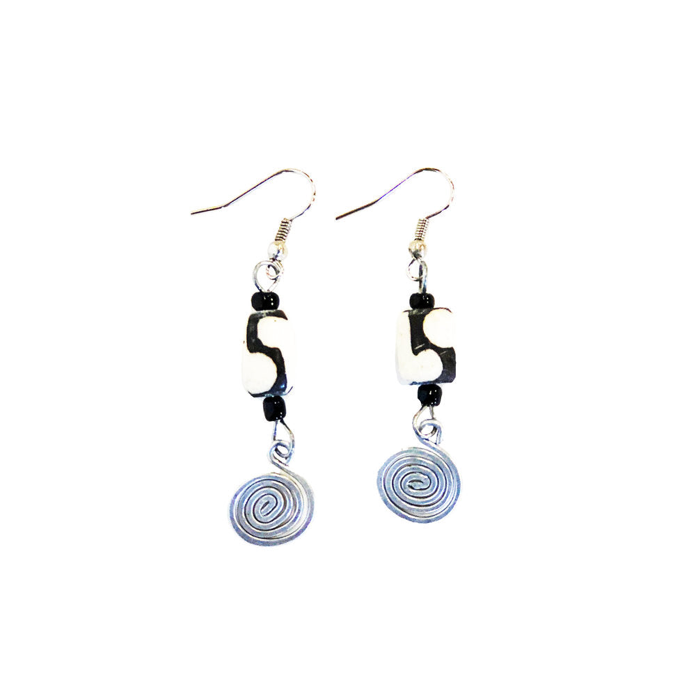 Silver Spiral Bone Earrings