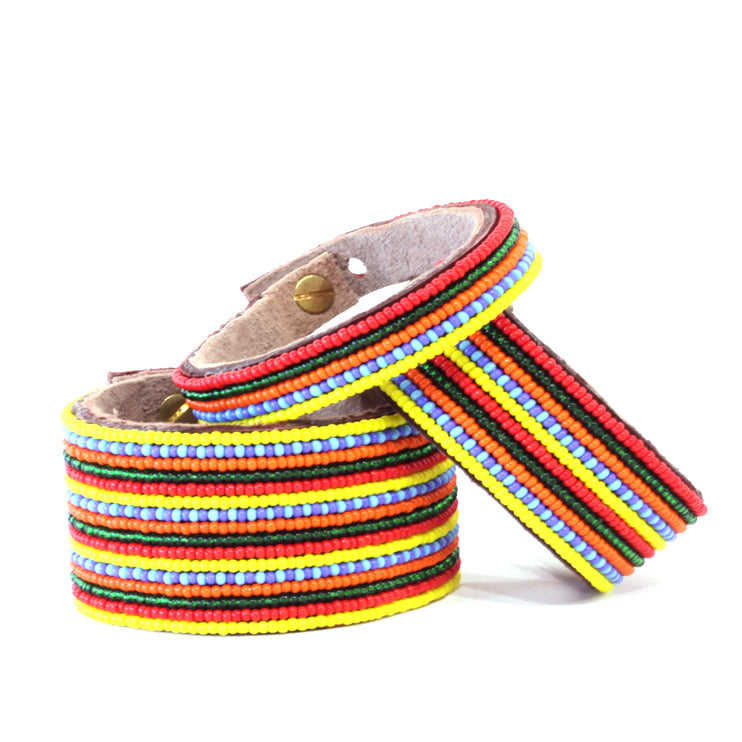 Stripes Multi Beaded Leather Cuff