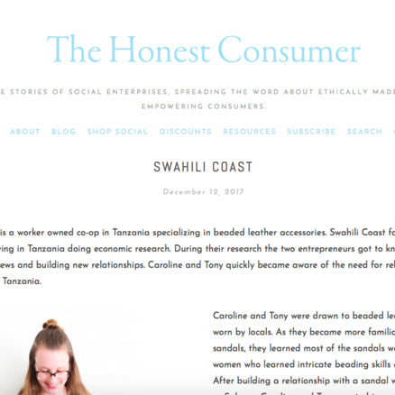 The Honest Consumer. Fair trade accessories ethically handmade by empowered artisans in East Africa.