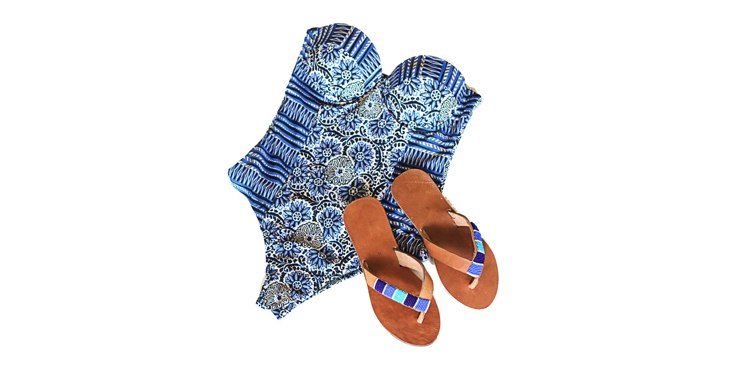 Blue Ribbon Sandals. Fair trade accessories ethically handmade by empowered artisans in East Africa.