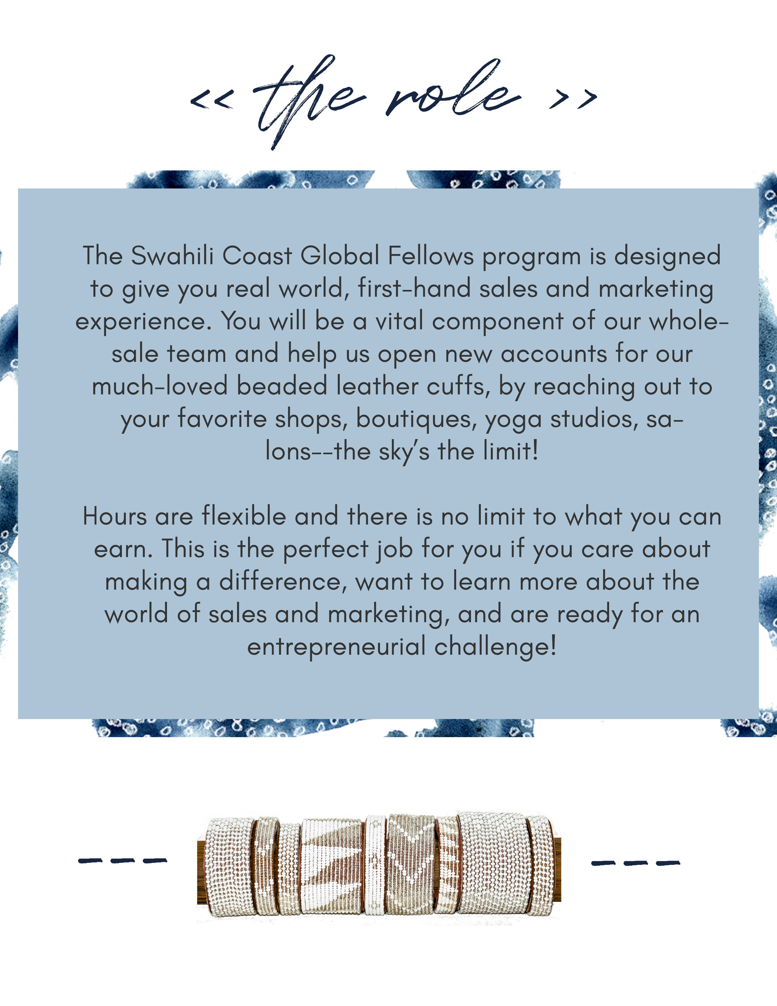 Swahili Coast Global Fellows Guide Page 2. Fair trade accessories ethically handmade by empowered artisans in East Africa.