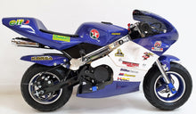 Load image into Gallery viewer, Mini Moto Twin Exhaust Racing Bike Blue