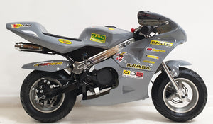 Mini Moto Twin Exhaust Racing Bike Grey