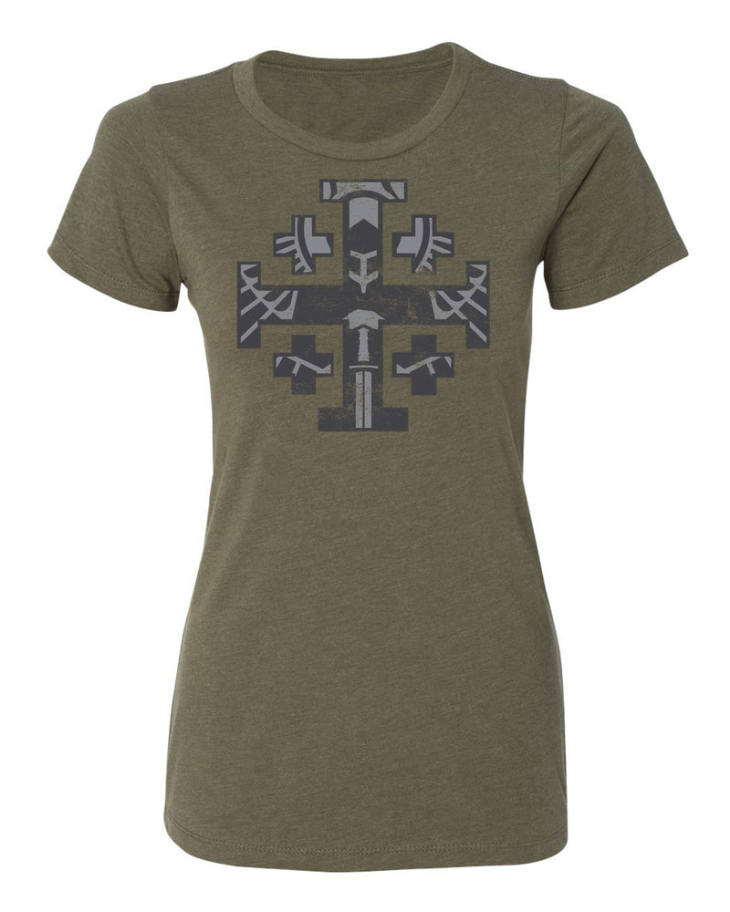 Jerusalem Cross Women's T-shirt (Gray Print)