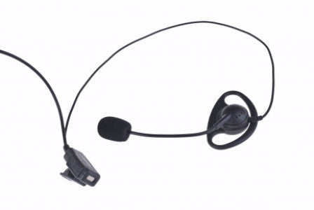 Rubber D-shaped ear hanger headset w/ swivel gooseneck, mini-boom mic and inline PTT - Freeway Communications - Canada's Wireless Communications Specialists
