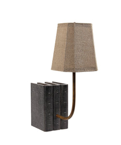 Decorative Book Lamp in Charcoal Shagreen (VH-LAMP-CHAR-SHAG)