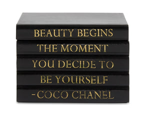 "Black Leather Bound Box with ""Beauty Begins..."" Coco Chanel Quote (VH-BOX-BLK-BEAUTY)"