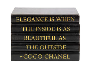 "Black Leather Bound Box with ""Elegance is When..."" Coco Chanel Quote (VH-BOX-BLK-ELEG)"