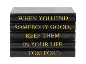 "Black Leather Bound Box with ""When You Find Somebody..."" Tom Ford Quote (VH-BOX-BLK-FORD)"