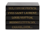 "Black Leather Bound Box with ""Yes I Speak French..."" Quote in Gold (VH-BOX-BLK-FRENCH)"