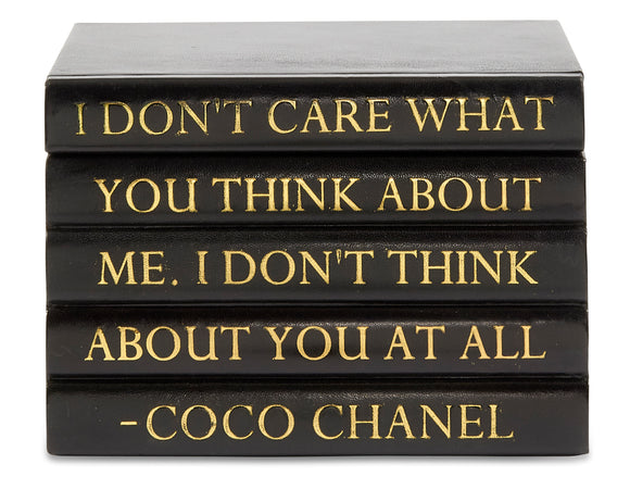 Black Leather Bound Box with Coco Chanel Quote
