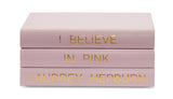 "Pink Leather Box with ""I Believe in Pink"" Audrey Hepburn Quote (VH-BOX-PINK-AUDREY)"