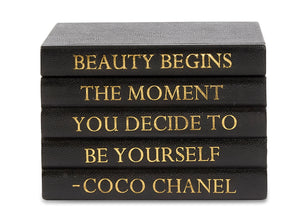 "Black Shagreen Box with ""Beauty Begins..."" Coco Chanel Quote (VH-BOX-SHAG-BEAUTY)"