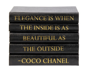 Stack of Black Shagreen Leather Bound Books with Coco Chanel Elegance Quote (VH-STACK5-SHAG-ELEG)