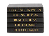 "Black Shagreen Box with ""Elegance is When..."" Coco Chanel Quote in Gold Lettering (VH-BOX-SHAG-ELEG)"