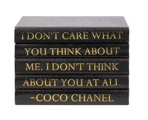 "Black Shagreen Box with ""I Don't Care What You Think..."" Coco Chanel Quote (VH-BOX-SHAG-THINK)"