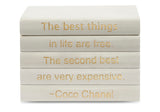 "Vellum White Leather Bound Box with ""The Best Things in Life..."" Coco Chanel Quote (VH-BOX-WHT-BEST)"