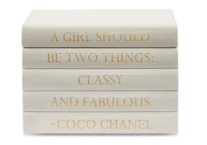 "Vellum White Leather Bound Box with ""A Girl Should Be..."" Coco Chanel Quote (VH-BOX-WHT-COCO)"