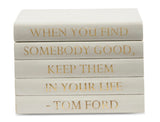 "Vellum White Leather Bound Box with ""When You Find Somebody..."" Tom Ford Quote (VH-BOX-WHT-FORD)"