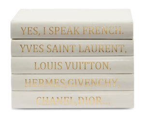 "Vellum White Leather Bound Box with ""Yes I speak French..."" Quote (VH-BOX-WHT-FRENCH)"