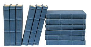 12 Vol. Full Linen Bound Decorative Books in Light Blue (VH-FL-LTBLUE-12)