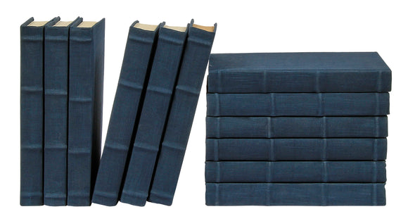 12 Vol. Full Linen Bound Decorative Books in Navy (VH-FL-NAVY-12)
