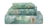Hand Painted Marble Book Box in Emerald Green & Blue - Large (VH-MBLG-EMBLU)