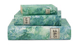 3 Piece Set of Hand Painted Marble Book Boxes in Emerald Green & Blue (VH-MBSET-EMBLU-03)
