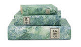 Hand Painted Marble Book Box in Emerald Green & Blue - Medium (VH-MBMD-EMBLU)