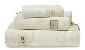 3 Piece Set of Hand Painted Marble Book Boxes in Cream (VH-MBSET-CR-03)