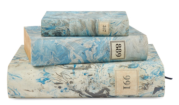3 Piece Set of Hand Painted Marble Book Boxes in Tiffany Blue & Gray (VH-MBSET-TIFFGRAY-03)