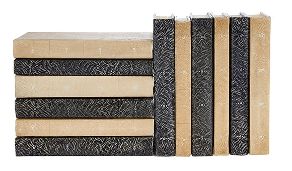 12 Vol. Mix of Charcoal Shagreen & Tan Shagreen Decorative Books (VH-SHAG-12)