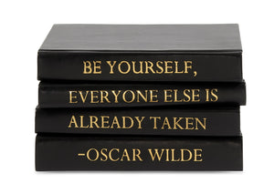 "Stack of Black Leather Bound Books with Oscar Wilde Quote ""Be Yourself..."" (VH-STACK4-BLACK-WILDE)"