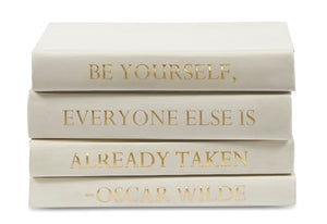 Stack of White Leather Bound Decorative Books with Oscar Wilde Quote (VH-STACK4-WHT-WILDE)