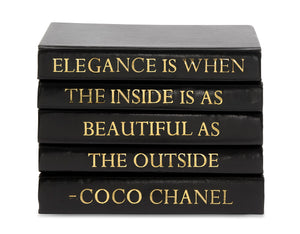 Stack of Black Leather Bound Decorative Books with Coco Chanel Elegance Quote (VH-STACK5-BLACK-ELEG)