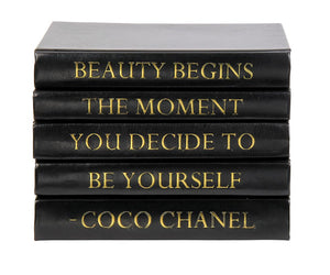 Stack of Black Leather Bound Books with Coco Chanel Beauty Begins Quote (VH-STACK5-BLACK-BEAUTY)