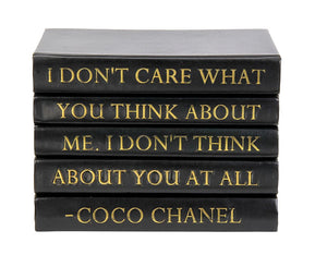 "Stack of Black Leather Bound Books with Coco Chanel Quote ""I Don't Care..."" (VH-STACK5-BLACK-THINK)"
