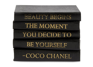 Stack of Black Shagreen Leather Bound Books with Coco Chanel Beauty Quote (VH-STACK5-SHAG-BEAUTY)