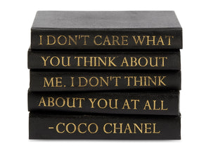 Stack of Black Shagreen Leather Bound Books with Coco Chanel Quote (VH-STACK5-SHAG-THINK)