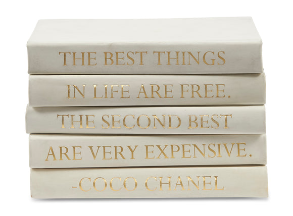 Stack of White Leather Bound Decorative Books with Coco Chanel Quote (VH-STACK5-WHT-BEST)