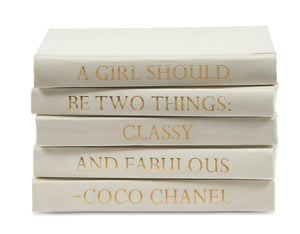 "Stack of White Leather Bound Books with Coco Chanel Quote ""A Girl Should be..."" (VH-STACK5-WHT-COCO)"