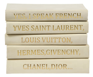 Stack of White Leather Bound Books with I Speak French Quote (VH-STACK5-WHT-FRENCH)