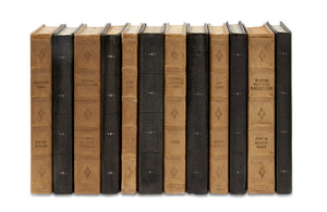 12 Vol. Set of Decorative Books - Mix of Taupe Leather & Charcoal Shagreen (VH-TAUPE-CHARSHAG-12)