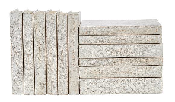 12 Vol. Set of White Shagreen Bound Decorative Books (VH-WHTSHAG-12)