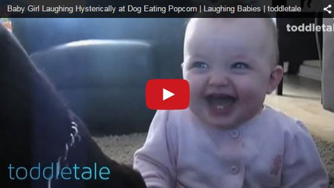 baby laughing at funny dog