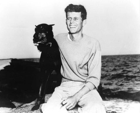 president john f kennedy and dog